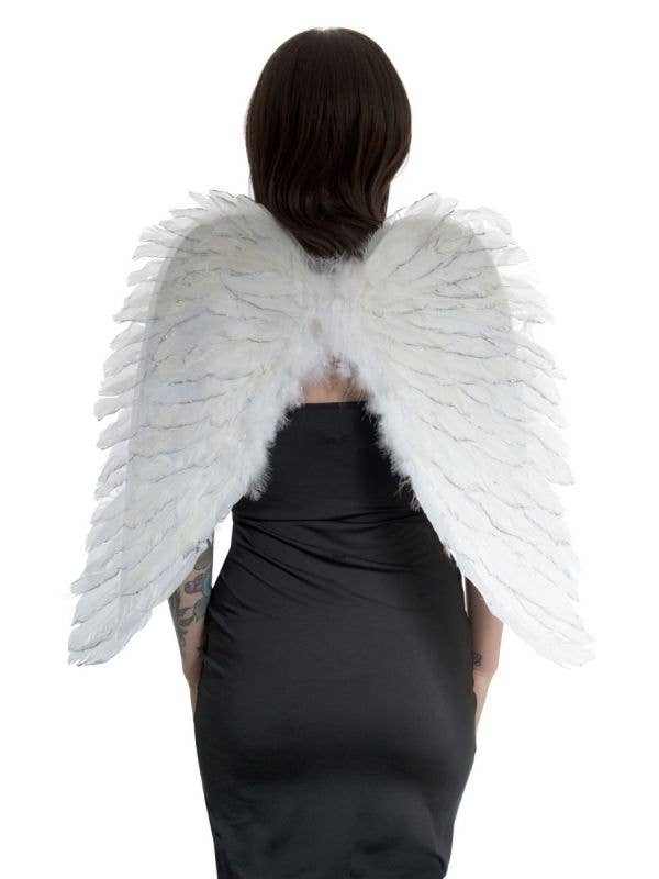 White Feather Angel Wings with Silver Glitter Main Image