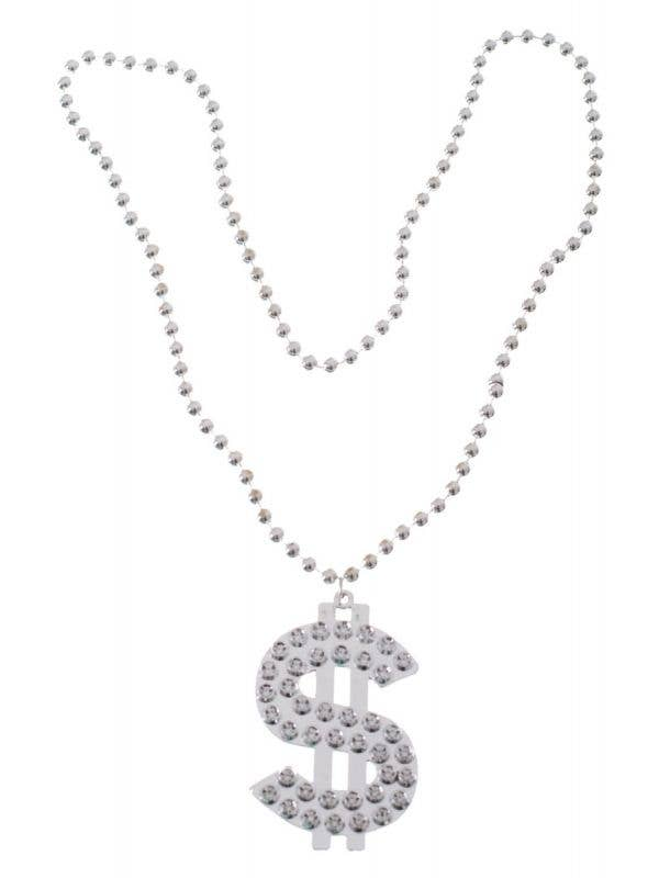 Silver Dollar Sign Bling Necklace Costume Accessory Main Image
