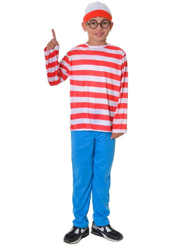 Red and White Stripe Top, Blue Pants, Hat and Glasses, Where's Wado Boy's Costume Dress Up Costume - Front View