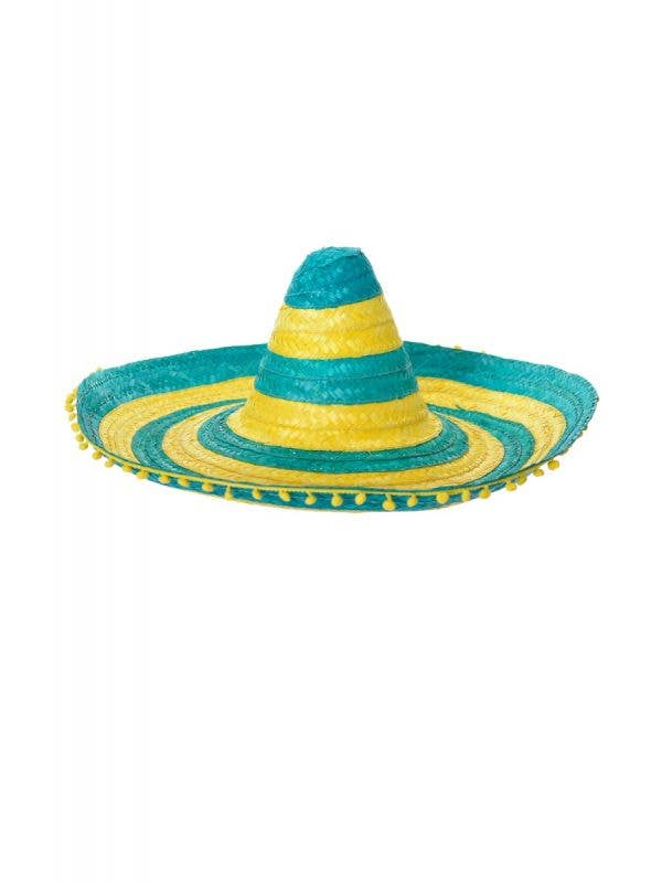 Australia Day Large Adult's Green And Yellow Striped Mexican Sombrero Costume Hat With Pom Pom Trim Main Image