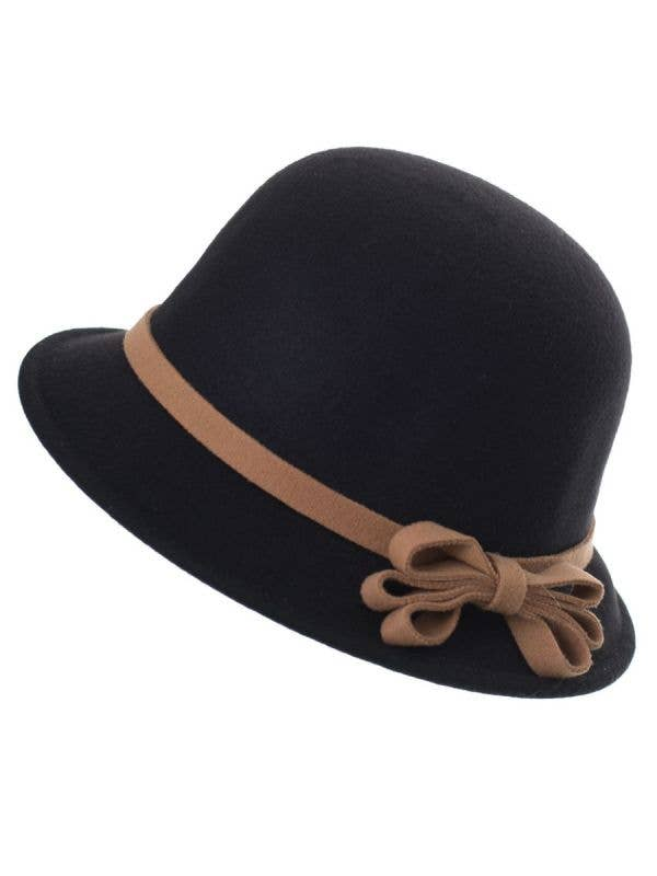 Black Red Felt 1920's Women's Cloche Bell Hat Costume Accessory Main Image