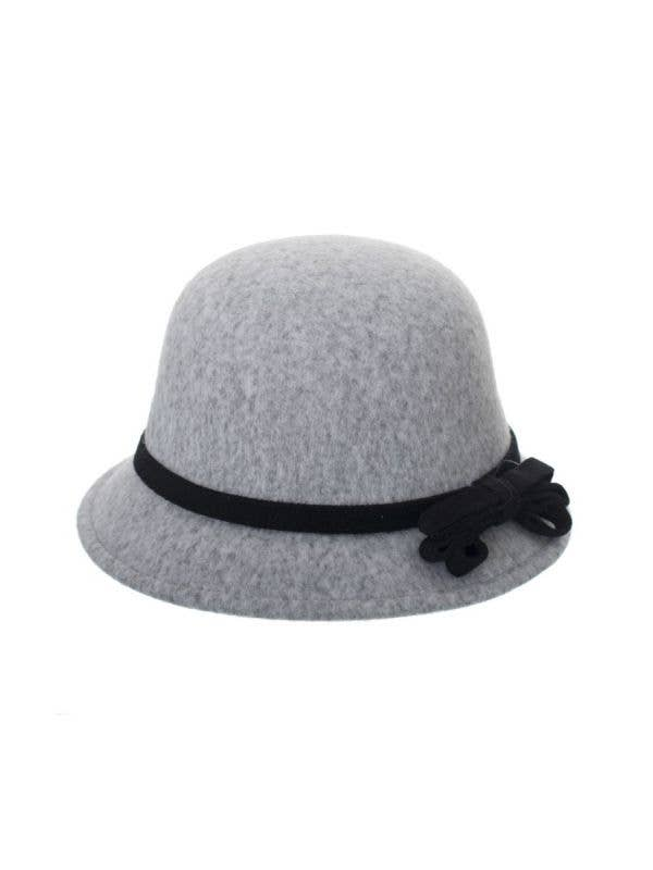 Grey Felt 1920's Women's Cloche Bell Hat Costume Accessory Main Image