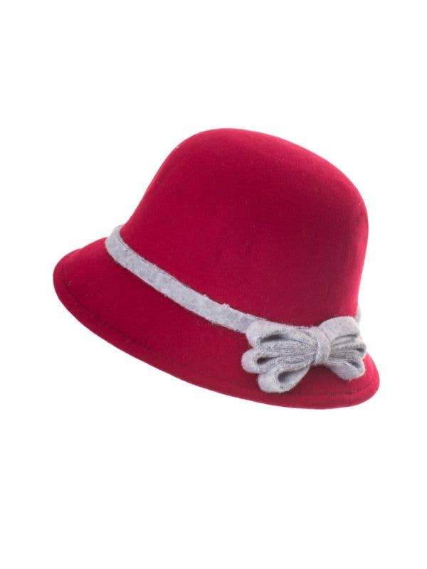 Maroon Red Felt 1920's Women's Cloche Bell Hat Costume Accessory Main Image