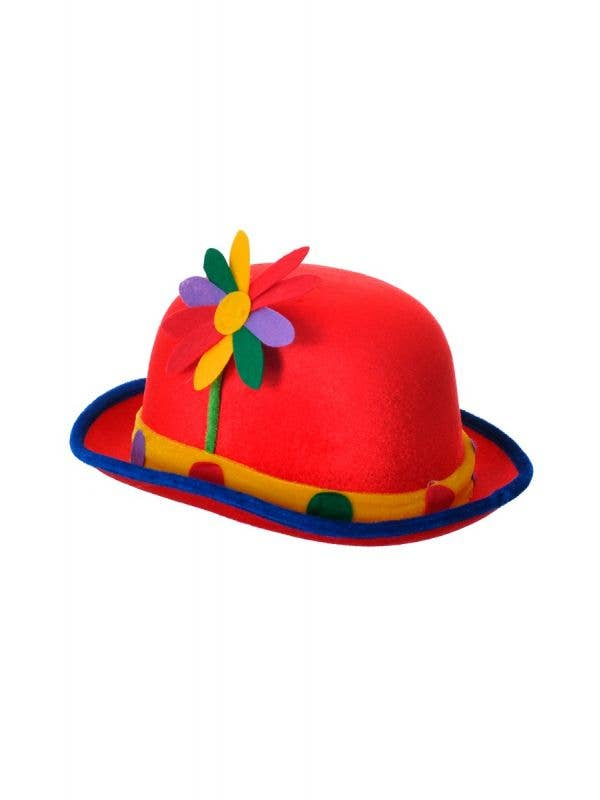 Circus Clown Red Velveteen Multi-Colour Bowler Costume Hat