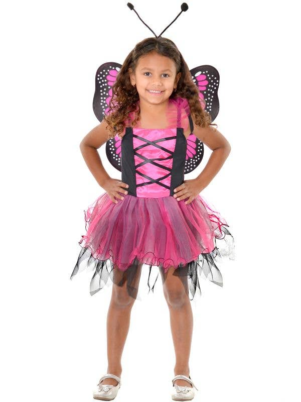 Girl's Pink and Black Fluttery Butterfly Dress Up Costume with Wings and Headpiece - Front View