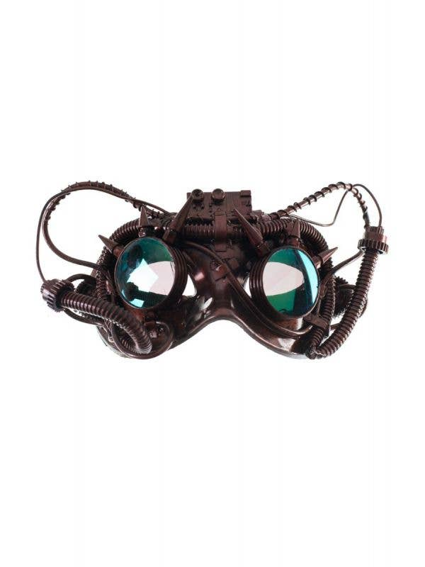 Bronze Antiqued Steampunk Masquerade Mask with Mirrored Goggles-Main Image