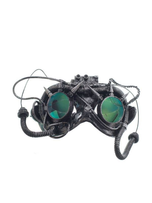 Silver Antique Steampunk Masquerade Mask with Mirrored Spikey Goggles-Main Image