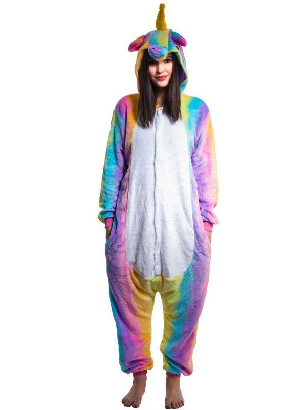 Girl's Rainbow Striped Plush Fluffy Unicorn Onesie Jumpsuit Costume Main Image