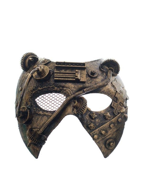 Antique Gold Men's Steampunk Mesh Eye Masquerade Mask Main Image