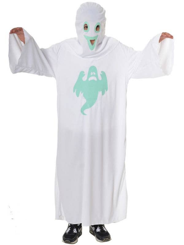 Kid's Glow in the Dark White Sheet Scary Ghost Halloween Costume Main Image