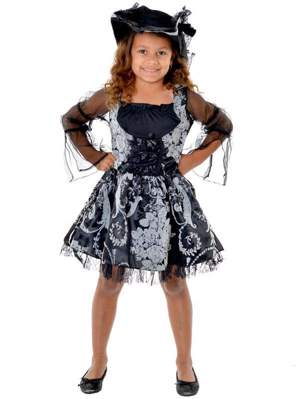 Girls Black and Grey Pirate Sweetie Dress Up Costume - Front View