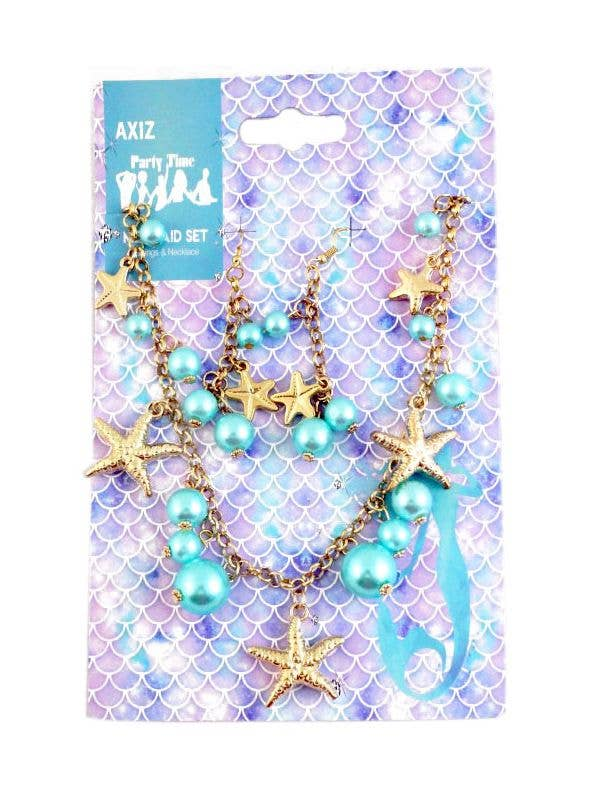 Gold Starfish Mermaid Necklace and Earrings Costume Jewellery Set