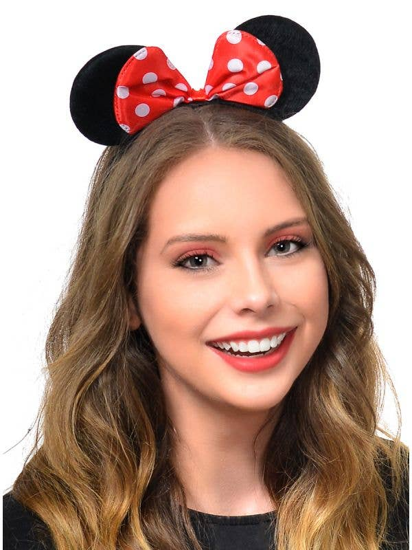 Red and White Spotted Bow with Minnie Mouse Ears on Headband