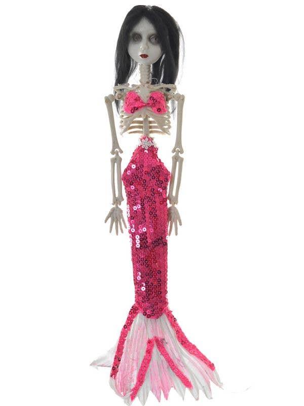 Hot Pink Sequined Creepy Mermaid Skeleton Haunted House Decoration Main Image