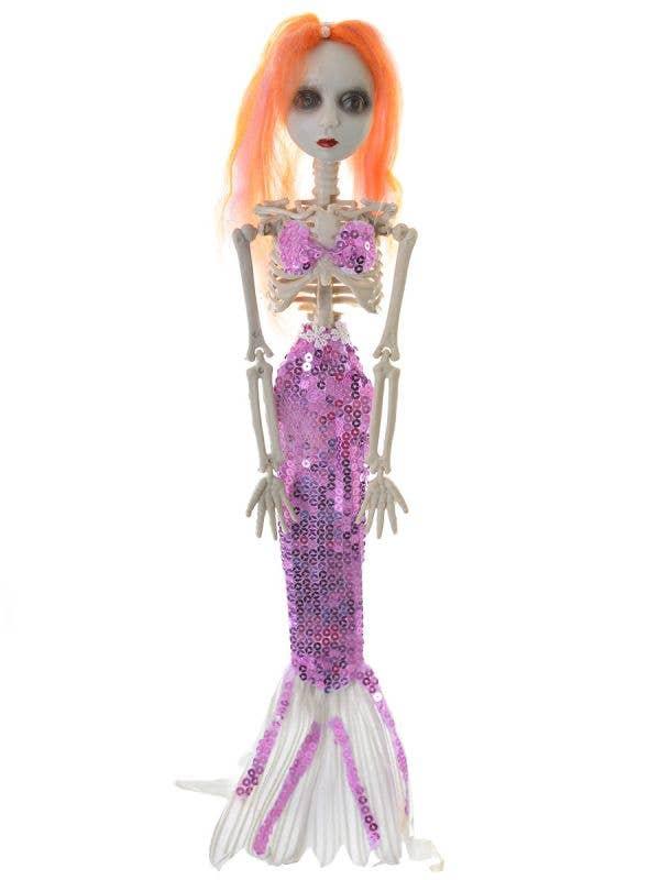 Purple Sequined Mermaid Skeleton Haunted House Prop Main Image