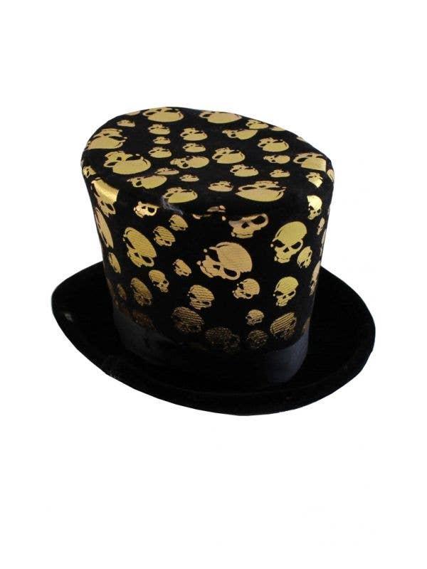 Gold Skull Halloween Mini Top Hat Costume Accessory Main Image
