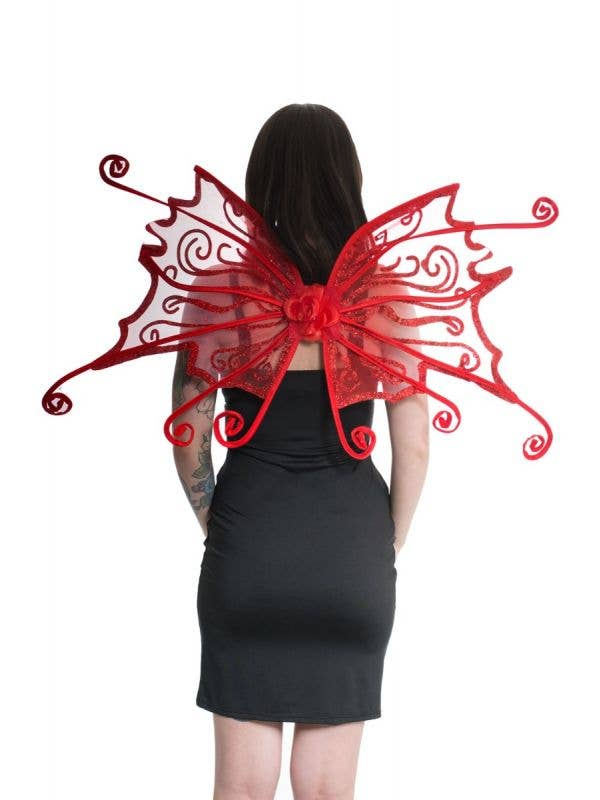 Curled Red Glitter Halloween Fairy Costume Wings Main Image