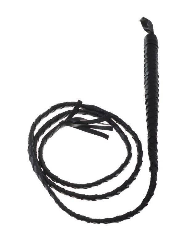 Black Woven Long Western Bull Whip Costume Accessory