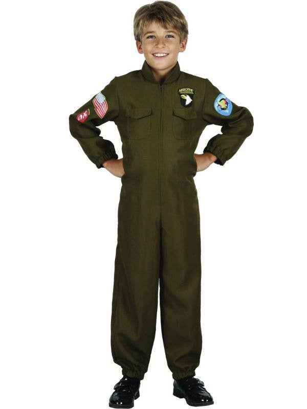 Boys Fighter Pilot Green Overalls Dress Up Costume Main Image