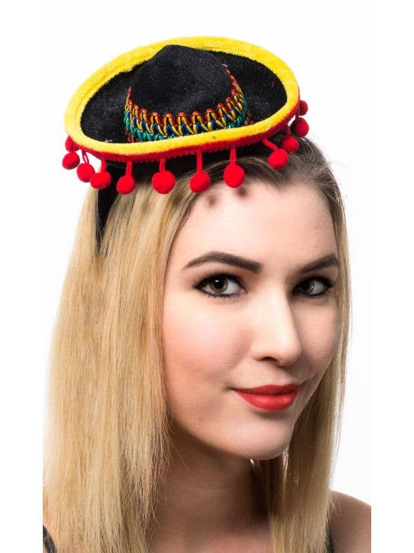 Black, Yellow and Red Mini Mexican Sombrero Costume Hat on Headband Main Image