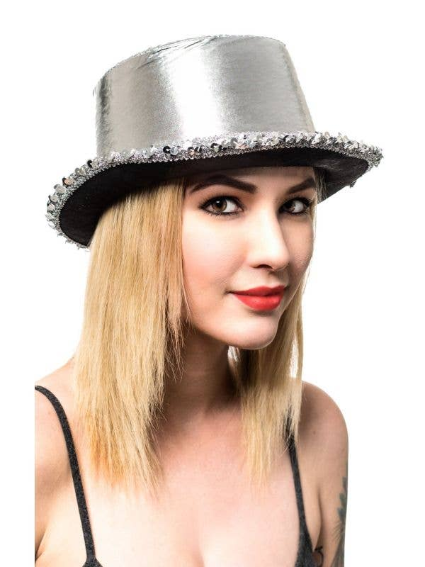 Metallic Silver Adult's Cabaret Top Hat with Sequins