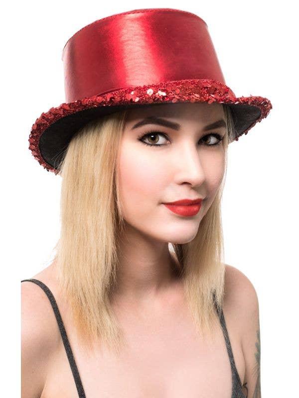 Metallic Red Adult's Cabaret Top Hat with Sequins