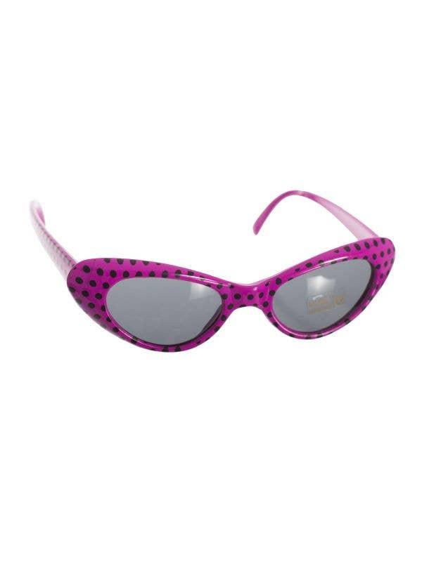 Retro Dark Pink and Black Polka Dot 50s Dress Up Costume Accessory Sunglasses - Main Image