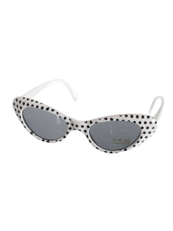 Black and White Polka Dot Sunglasses 1950's Accessory Main Image