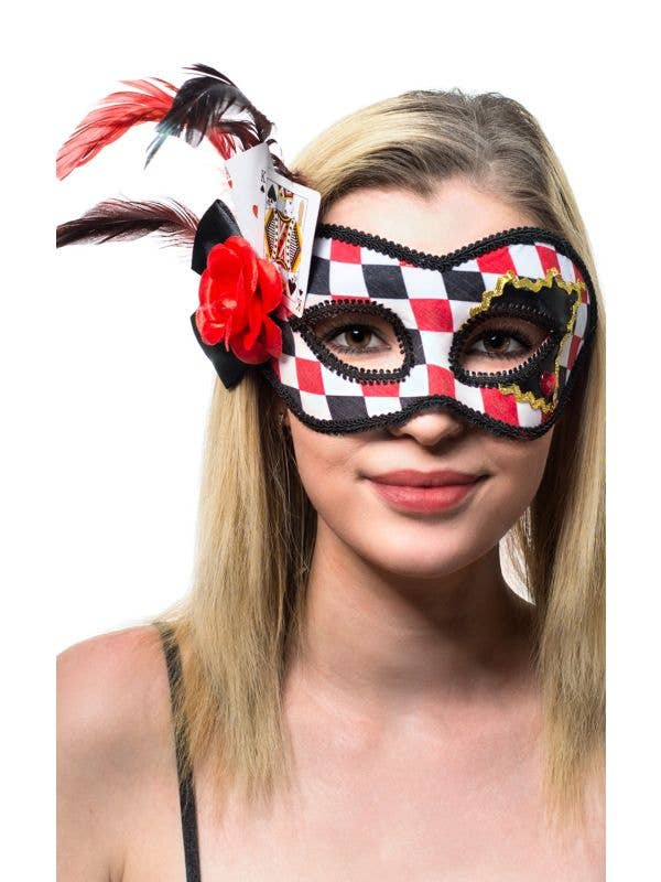 Red, Black and White Checkered Masquerade Mask On Glasses