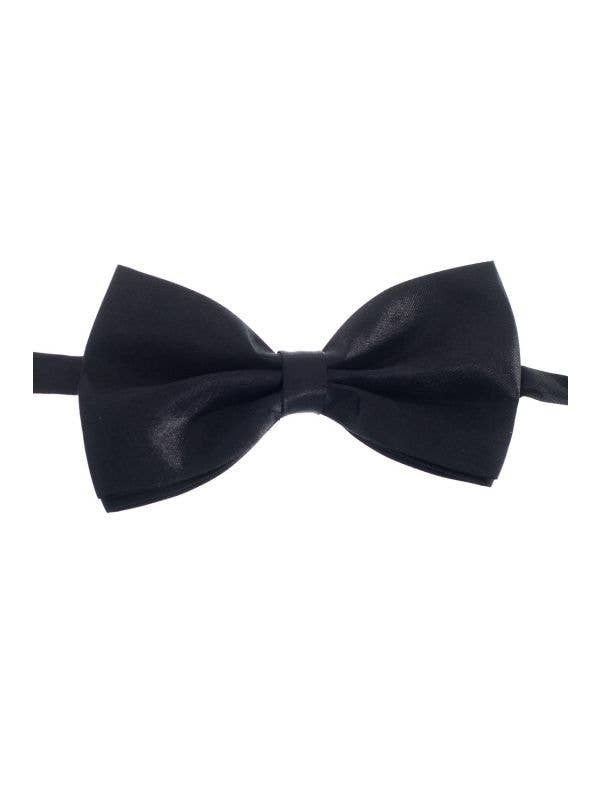 Large Black Satin Layered Stiffened Bow Tie Costume Accessory View 1