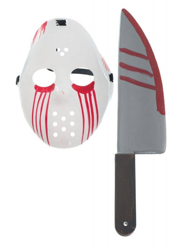 Blood Hockey Mask and Knife Halloween Accessory Set Main Image