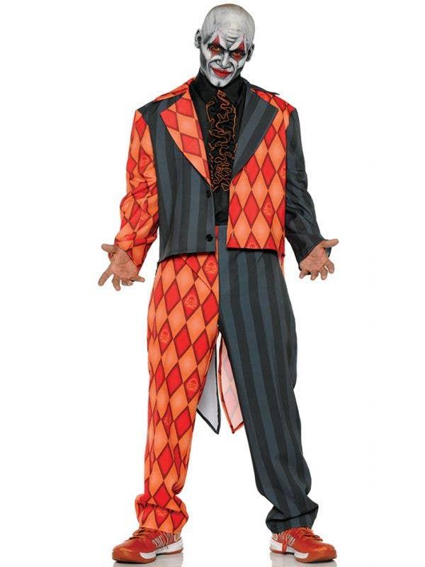 Teen Boys Orange and Black Thriller Jester Tuxedo Halloween Costume Main Image