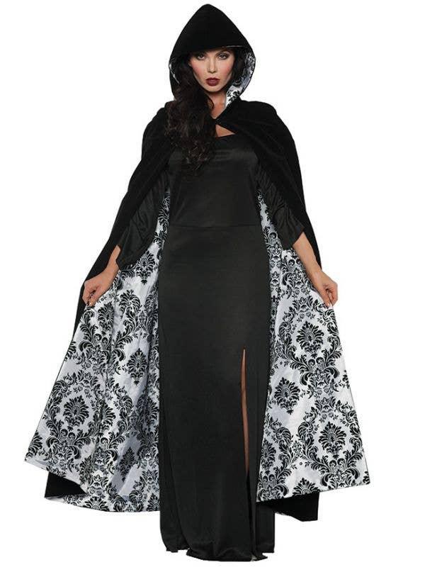 Black Velvet and White Satin Flocked Costume Cape