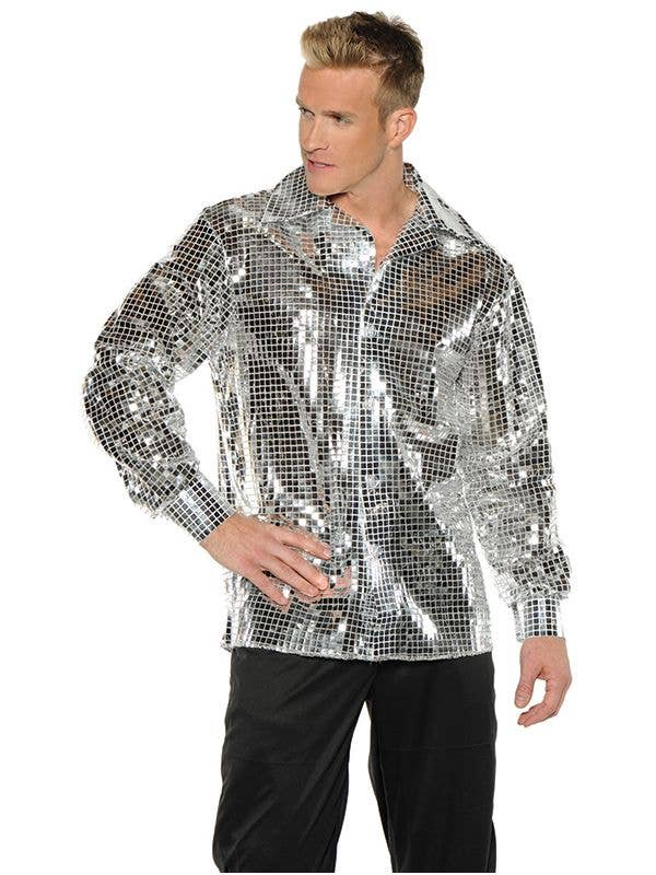 Men's Shine Disco Ball Silver 70's Costume Shirt