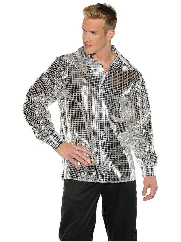 Men's Plus Size Metallic Silver Costume Shirt