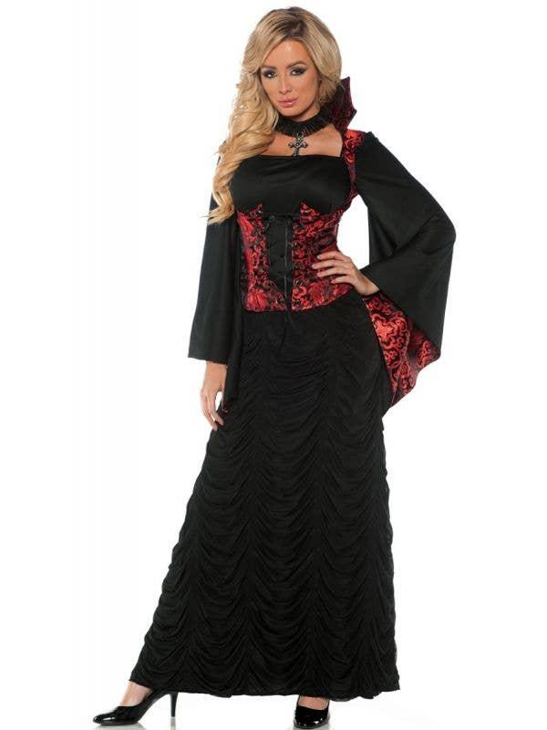 Women's Gothic Blood Mistress Vampire Halloween Fancy Dress Costume Main Image