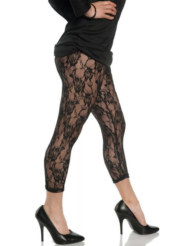 Women's Floral Lace Footless Leggings 1980s Costume Accessory - Main Image