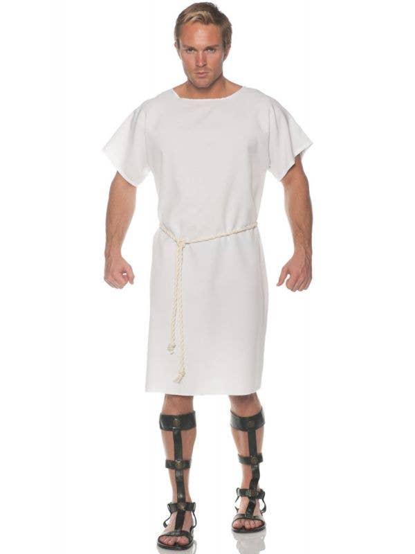 Men's Basic White Ancient Roman Toga Fancy Dress Costume Main Image