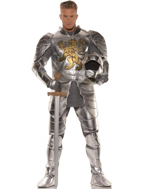 Men's Metallic Silver Knight In Shining Armour Medieval Fancy Dress Costume By Underwraps Main Image