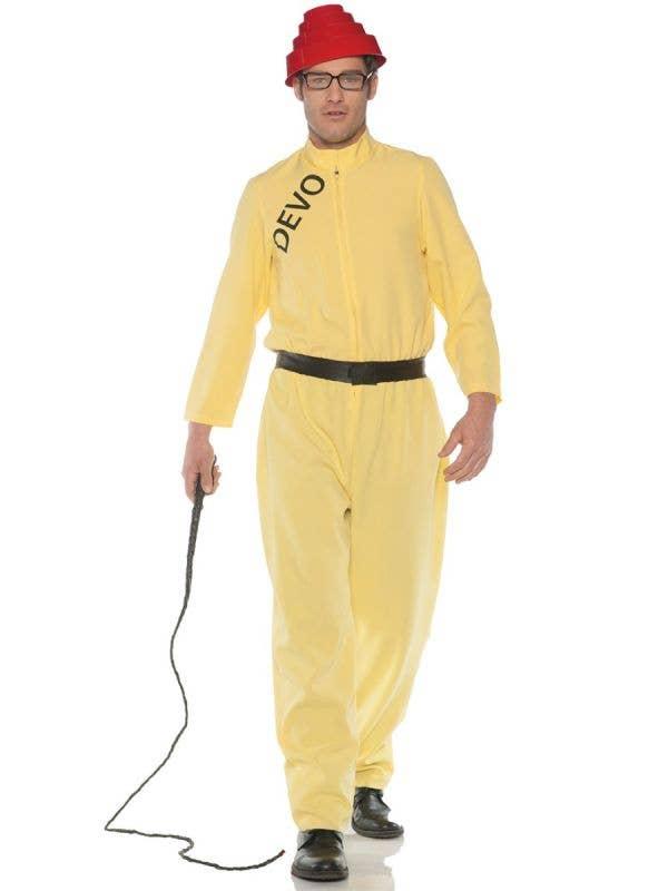 Men's Yellow Devo Whip It Long Jumpsuit Musician Plus Size Fancy Dress Costume Main Image