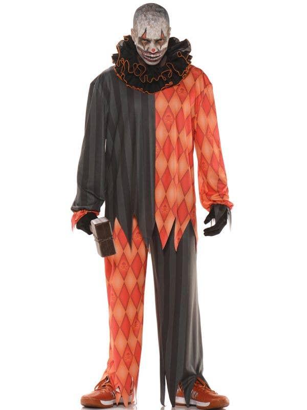 Creepy Orange and Black Evil Clown Men's Costume