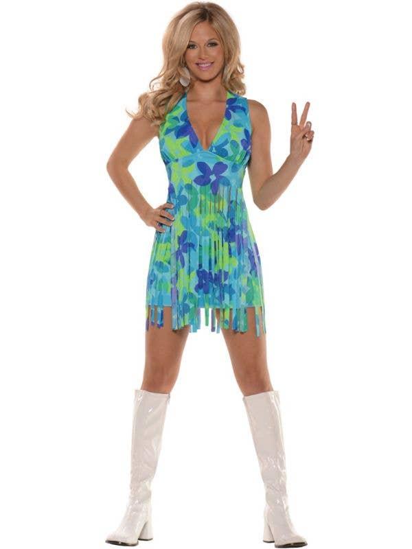 Meadow Hippie Sexy Women's 1960's Fancy Dress Costume Main Image