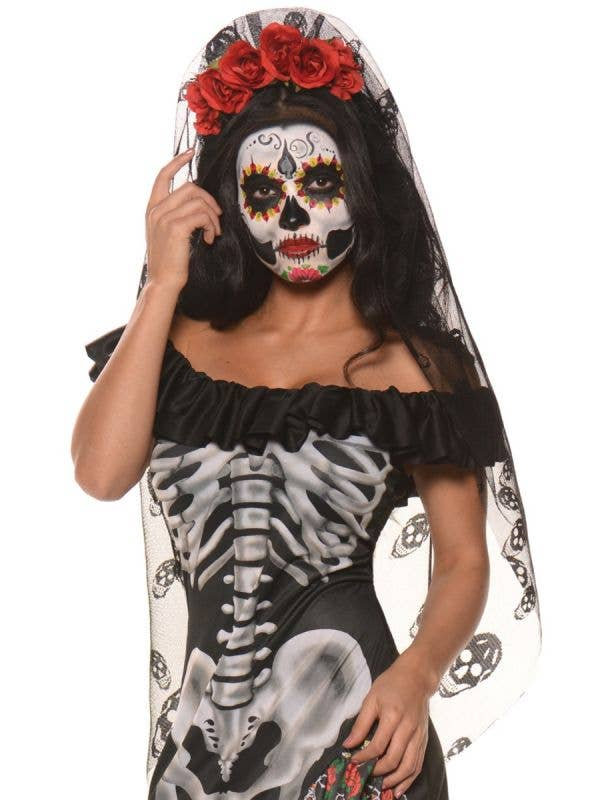 Women's Mexican Day of the Dead Flower Headband with Attached Veil Main Image