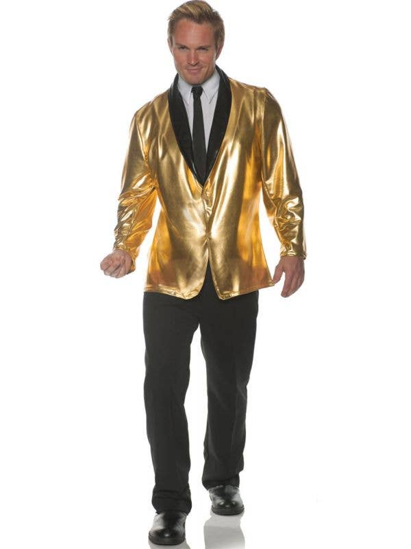 Men's Plus Size Metallic Gold 50's Costume Jacket Main Image
