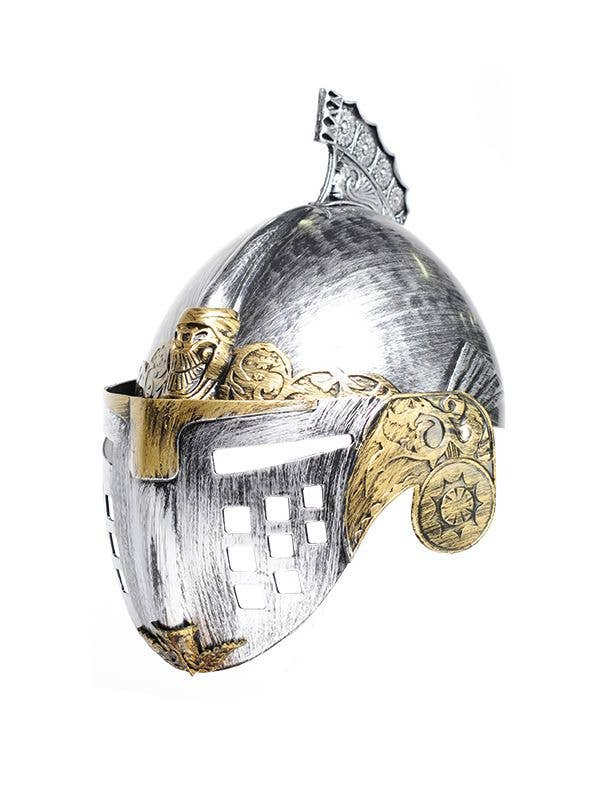 Silver and Gold Knight Helmet Costume Accessory