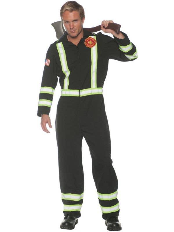 Men's Plus Size Black Fire Fighter Jumpsuit Fancy Dress Costume Main Image