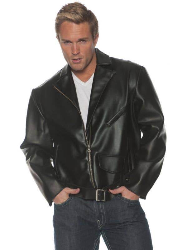Mens 1950s Grease Leather Look 40s Dress Up Costume Jacket - Main Image