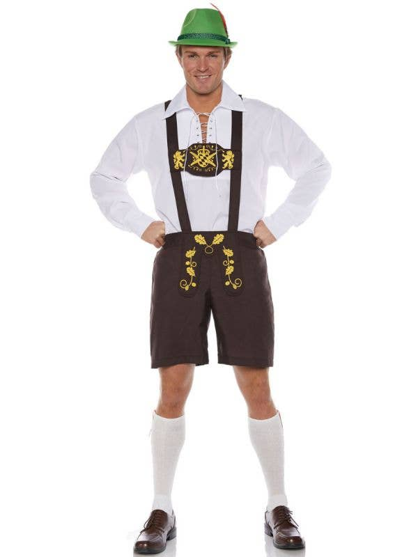Men's Plus Size Brown Classic Lederhosen Oktoberfest Fancy Dress Costume Main Image