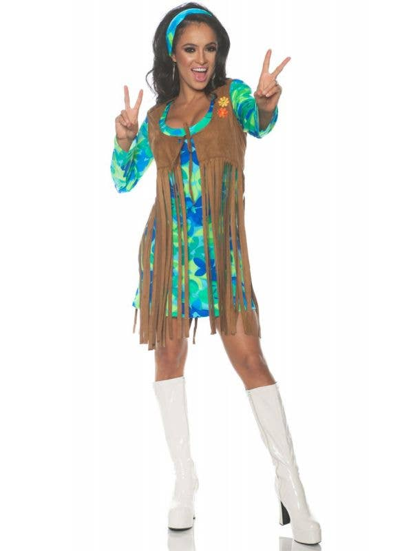 Groovy Womens 1960s Retro Fancy Dress Hippie Costume  - Main Image