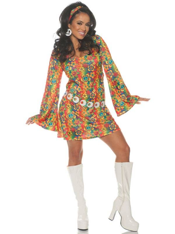 Women's Rainbow Hippie 1960s Dress Costume Main Image